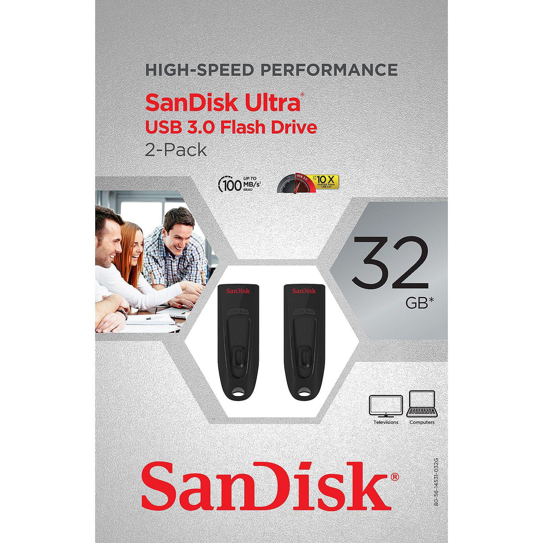 SanDisk Cruzer Ultra 32GB USB 3.0 Flash USB Drive (2 Pack)