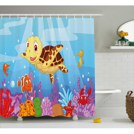 Turtle Shower Curtain, Funny Adorable Cartoon Style Underwater Sea Animals Baby Turtle and Fish Pattern, Fabric Bathroom Set with Hooks, Multicolor, by Ambesonne