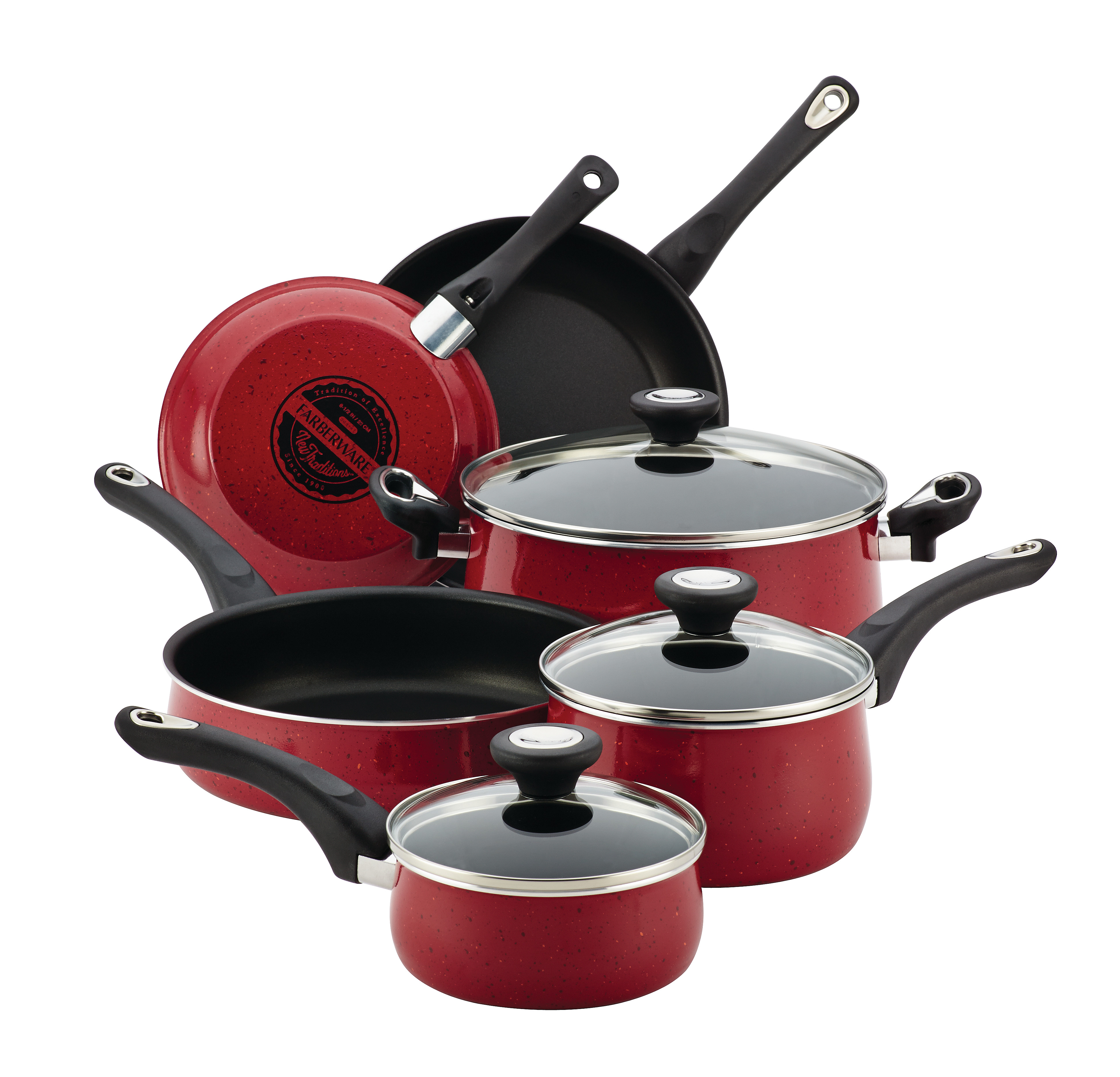 Farberware New Traditions Speckled Aluminum Nonstick 12-Piece Cookware Set, Red