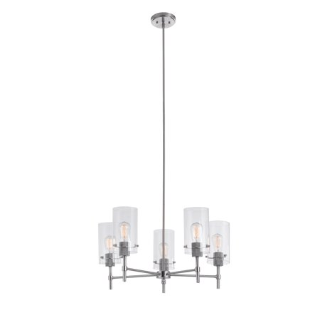 Globe Electric Cusco 5-Light Brushed Nickel Chandelier with Clear Glass Shades, 60319