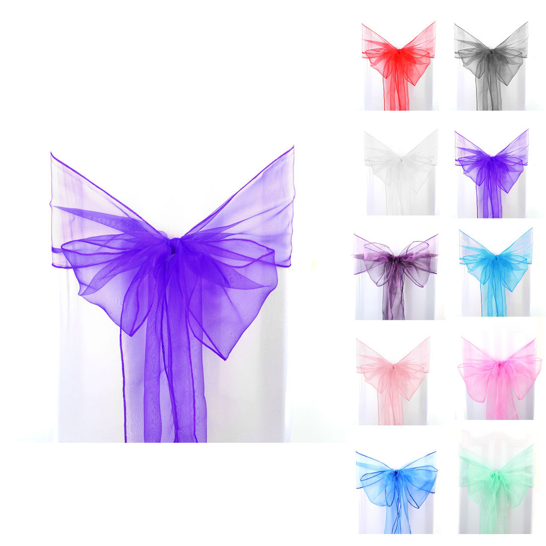 1/10/50PCS Organza Chair Cover Sashes Bow Wedding Party Banquet Decor