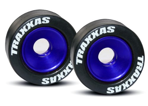 Traxxas 5186A Rubber Tires Mounted on Blue-Anodized Aluminum Wheelie Bar Wheels (pair) by