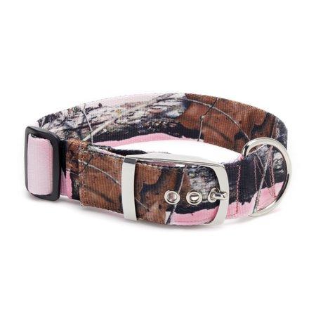 Vibrant Life Extra Wide Metal Camo Dog Collar, Pink, Large Camouflage Dog Collar Collars