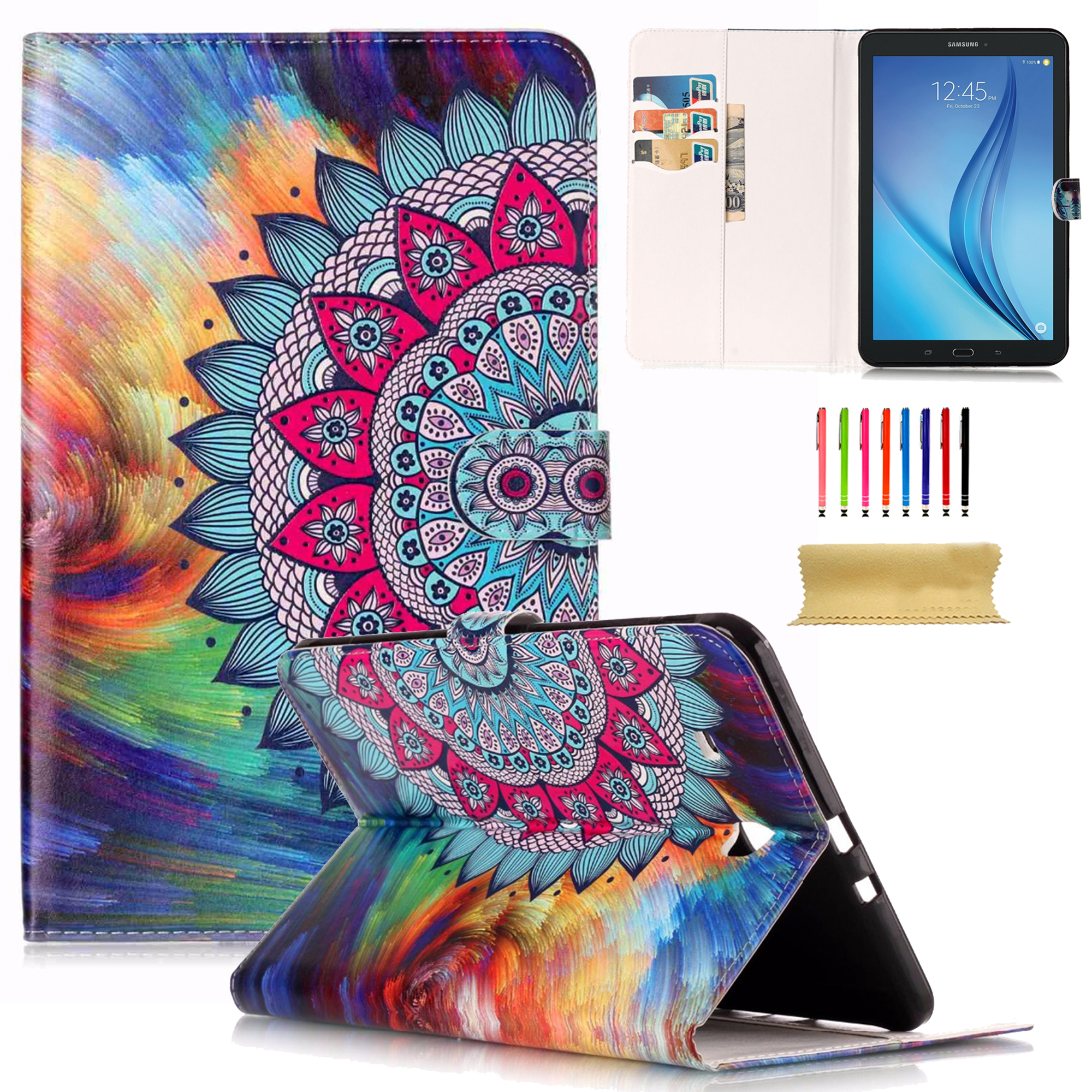 "Galaxy Tab E 9.6 Case, Goodest Folio Stand Cover for Samsung Galaxy Tab E 9.6""/ Tab E Nook 9.6-Inch Tablet (SM-T560 / T561 / T565 and SM-T567V Verizon 4G LTE Version)(Not Fit T560NU), Sun Flower"