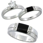 sterling silver cubic zirconia trio engagement wedding ring set for him and her 65 mm black - Wedding Rings Sets For Him And Her