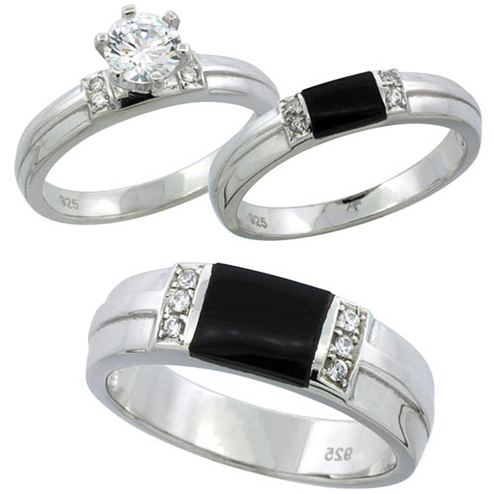 sterling silver cubic zirconia trio engagement wedding
