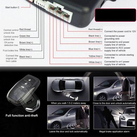 12V Auto Car Alarm One-button Push Engine Starter Switch PKE Keyless Entry Start Stop Antitheft System - image 3 de 8
