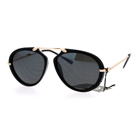 87970a570f SA106 - SA106 Retro Flat Top Bridge Racer Plastic Aviator Sunglasses Shiny  Black - Walmart.com