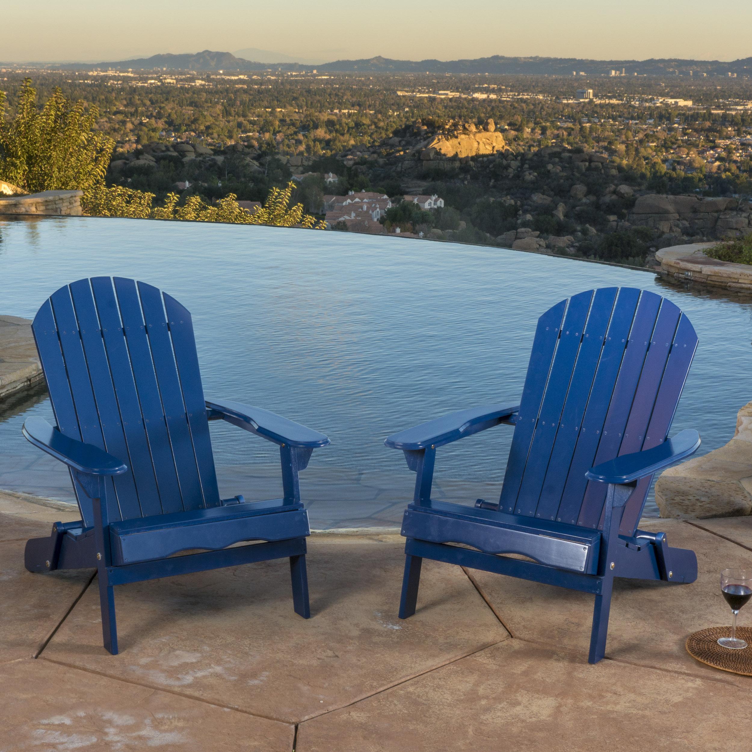 Horizon Folding Wood Adirondack Chair - Pack of 2,Navy Blue