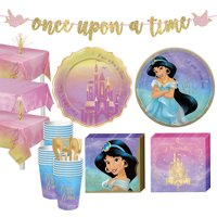 Party City Disney Princess Jasmine Tableware Supplies for 24 Guests, Includes Cups, Cutlery, Napkins, Plates, and Decor