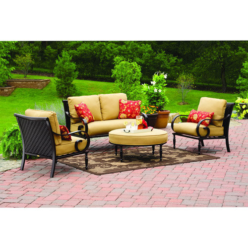 Better Homes and Gardens Englewood Heights 4-Piece Patio Conversation Set, Seats 4