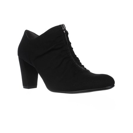 Womens Aerosoles Fortunate Front Zip Scrunch Ankle Boots, Black