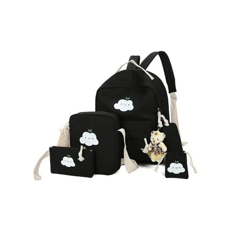7136f449c Anyprize 5 Pcs/Sets Canvas Backpacks for School for Girls, Black Classic Canvas  Backpack