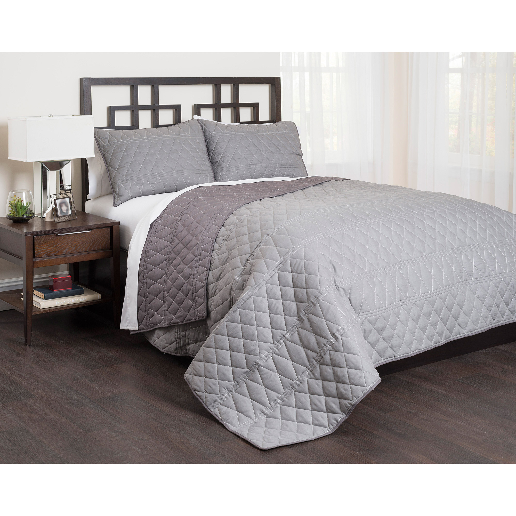 East End Living Geo Bedding Quilt Set, Gray by Idea Nuova