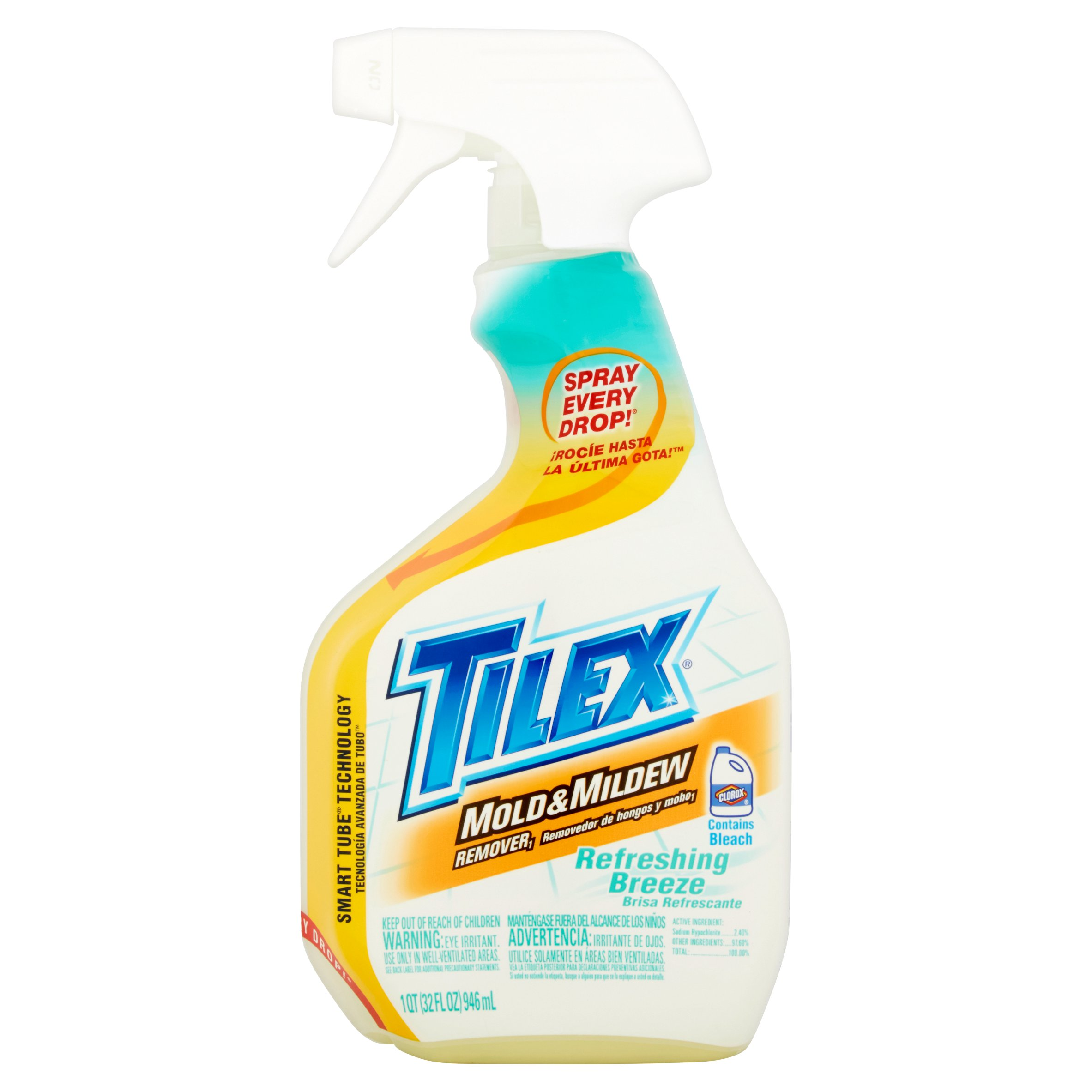 Tilex Mold Stain and Mildew Stain Remover with Bleach, Spray Bottle, Refreshing Breeze, 32 Ounces