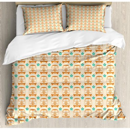 Hippie Queen Size Duvet Cover Set, Vintage Minivan Cars with Peace Signs and Floral Details Freedom Travel, Decorative 3 Piece Bedding Set with 2 Pillow Shams, Beige Orange Turquoise, by