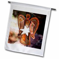 3dRose A Copper Angel Yard Ornament with a White Star on Her Tummy Standing on a Pole, Garden Flag, 12 by 18-Inch