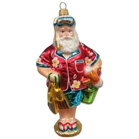 Tropical Beach Santa Polish Glass Christmas Ornament Snorkel Coastal Decoration (Tropical Santa)
