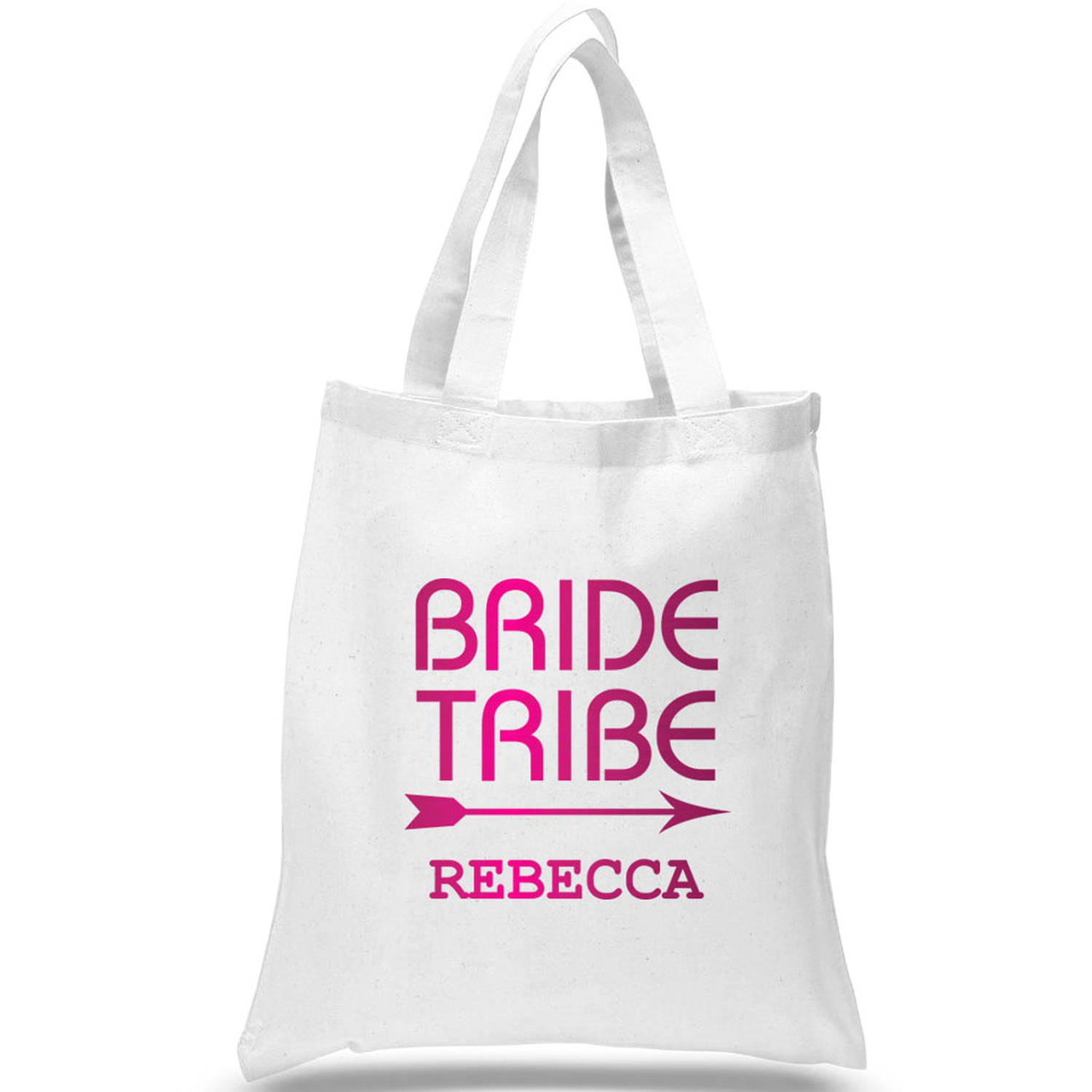 """Customized Bride Tribe Cotton Tote Bag, Sizes 11"""" x 14"""" and 14.5"""" x 18"""""""