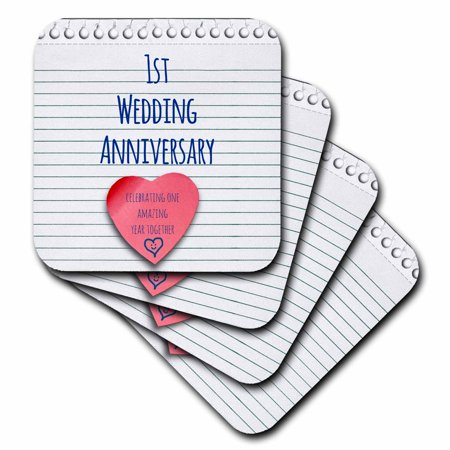- 3dRose 1st Wedding Anniversary gift - Paper celebrating 1 year together - first anniversaries - one yr, Ceramic Tile Coasters, set of 4