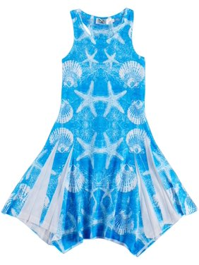 India Boutique Little Girls Starfish Swim Cover-Up 2-3 Blue/white