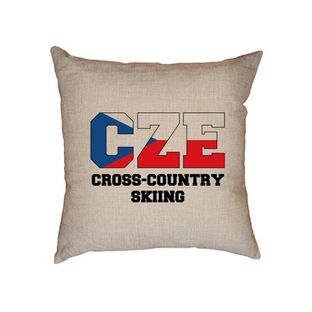 Classic Cross Country Ski - Czech Cross-Country Skiing - Winter Olympic - CZE Flag Decorative Linen Throw Cushion Pillow Case with Insert