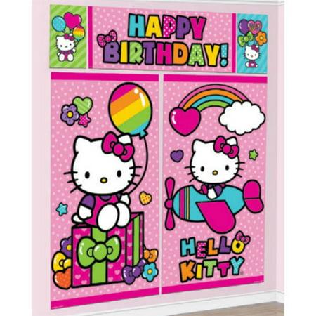 Rainbow Hello Kitty Scene Setter Wall Decoration Kit Kids Birthday Party Supply