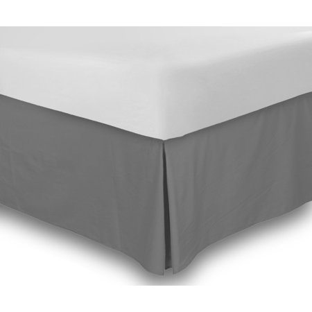 Bed Skirt Long Staple Fiber- Abrasion Resistant, Quadruple Pleated, 100% Finest Quality by Lux Decor Collection (Queen ,Grey)