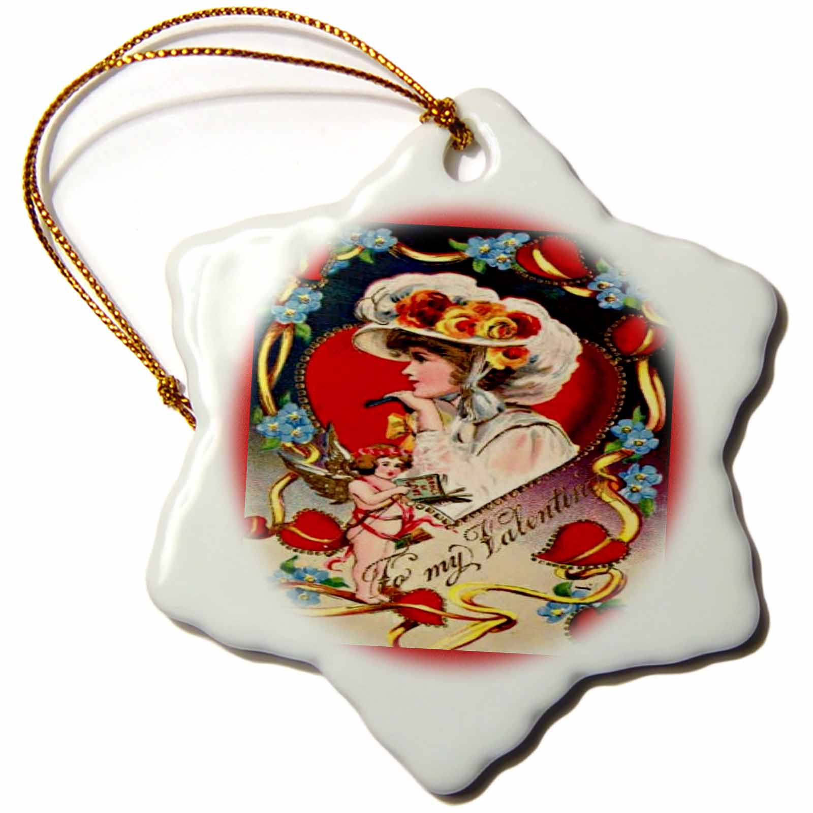 3dRose Vintage Valentine Day Lady, Snowflake Ornament, Porcelain, 3-inch