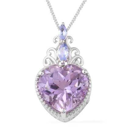 Womens Sterling Silver Rose De Amethyst Tanzanite Love Heart Valentines Pendant Necklace 20