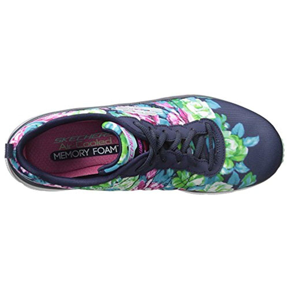 e65f7d0e8878 Skechers - Skechers Women s Fashion Fit Air-Cooled Memory Foam Navy Floral  Sneakers Shoes - Walmart.com