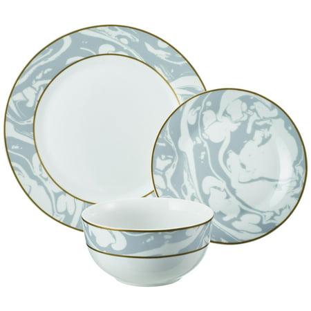 Marble Swirl Collection 12-Piece Porcelain Gray Dinnerware Set, Walmart Exclusive