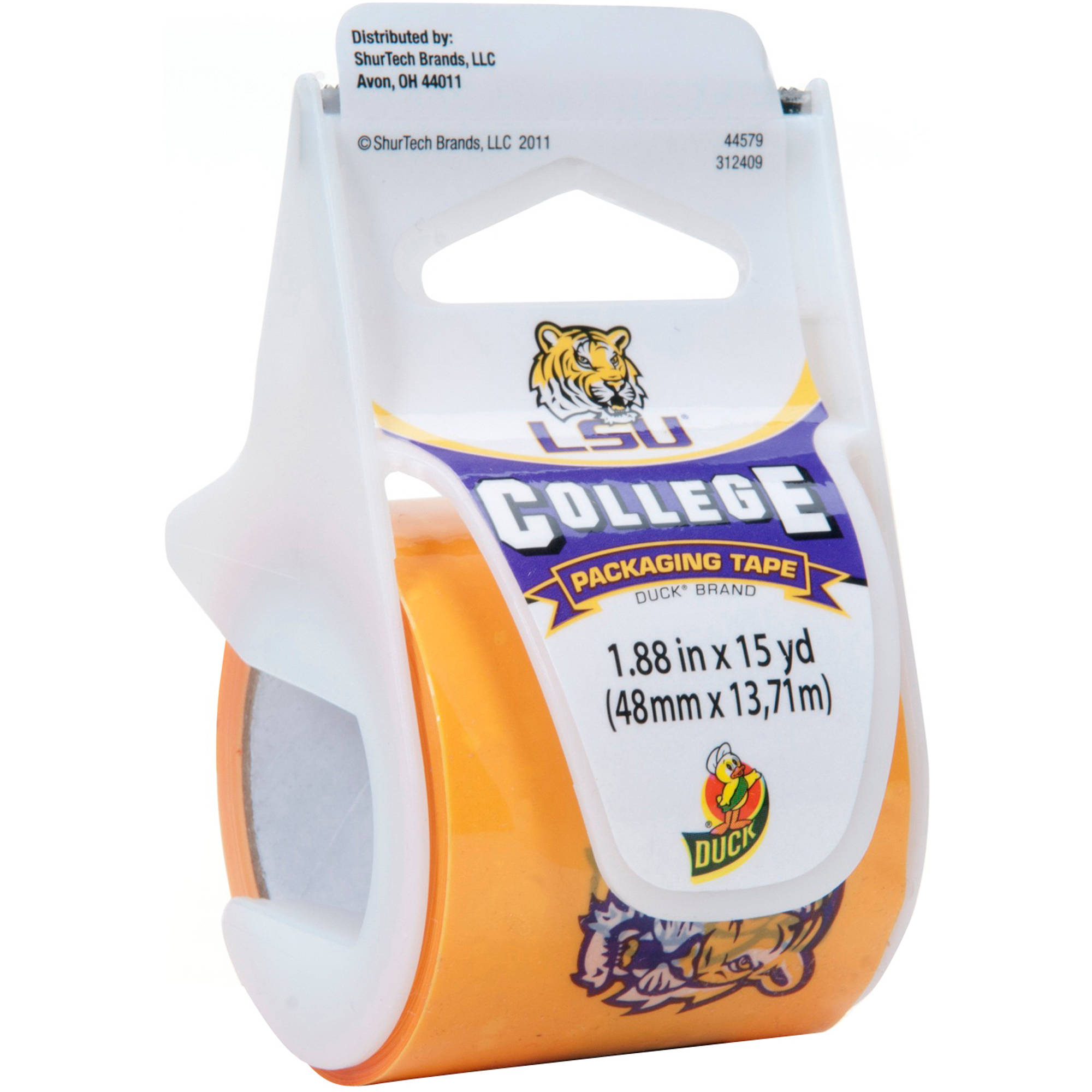 """Duck Brand 1.88"""" x 15 yd Packing Tape, LSU Tigers"""