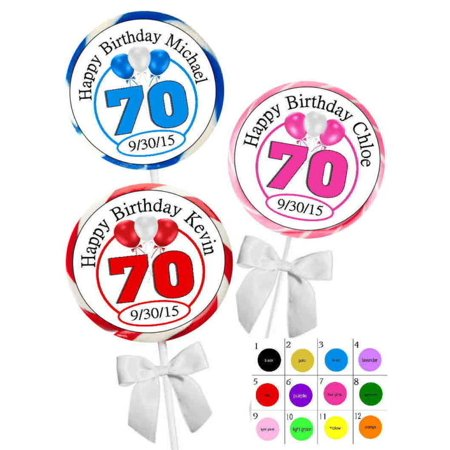 70TH BIRTHDAY PARTY FAVORS STICKERS For Lollipops Goody Bags Favor Boxes