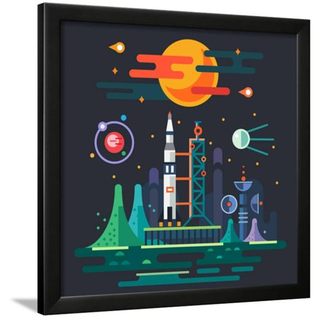 Space Landscape, Rocket Launch on the Background of a Sunset  the Sun,  Planets, Stars, Comets, Moon Framed Print Wall Art By Beresnev