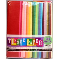 "Assorted Rainbow Color Tissue Paper Pack, 20"" x 26"" Sheets,100 ct"