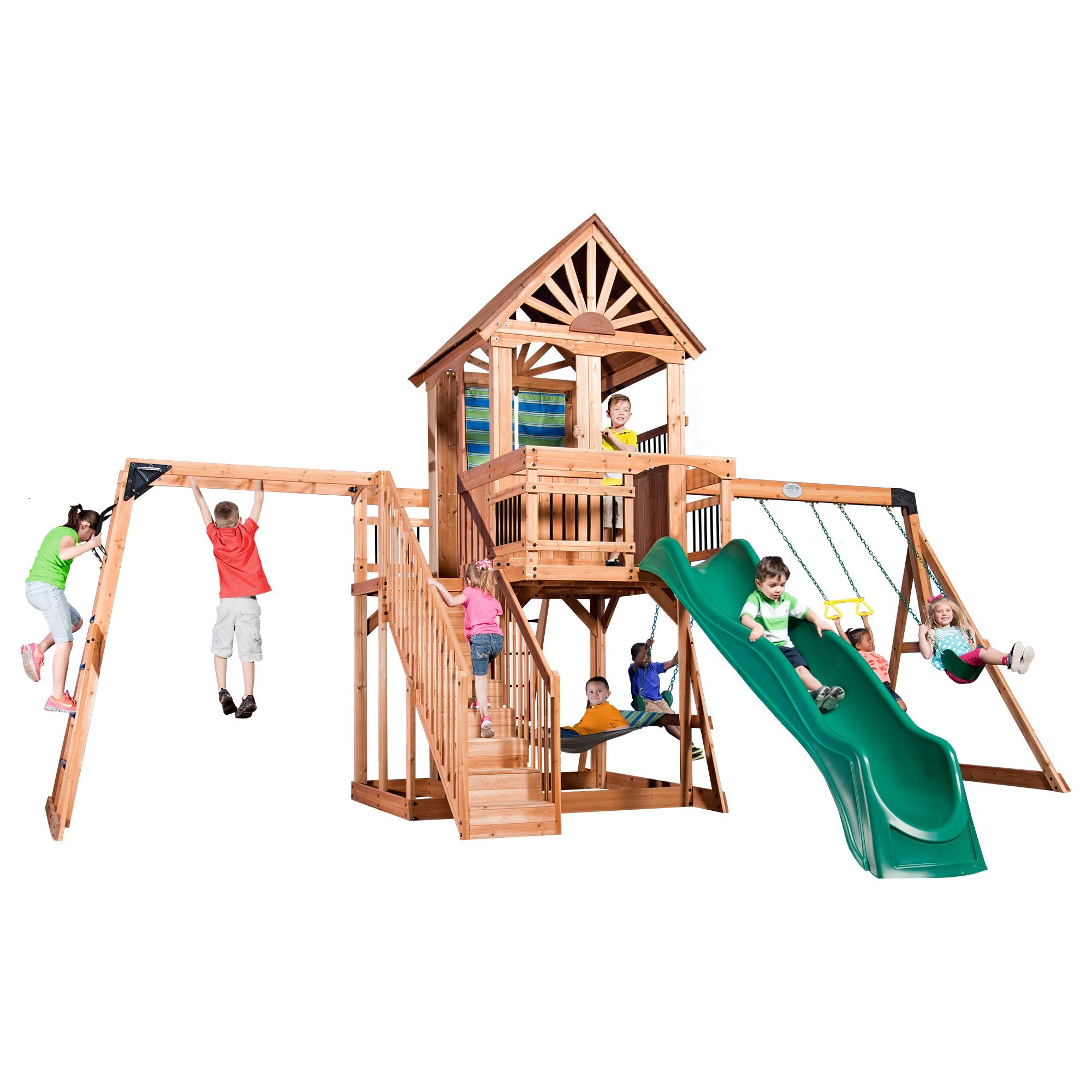 Backyard Discovery Oceanview All Cedar Wood Playset Swing ...