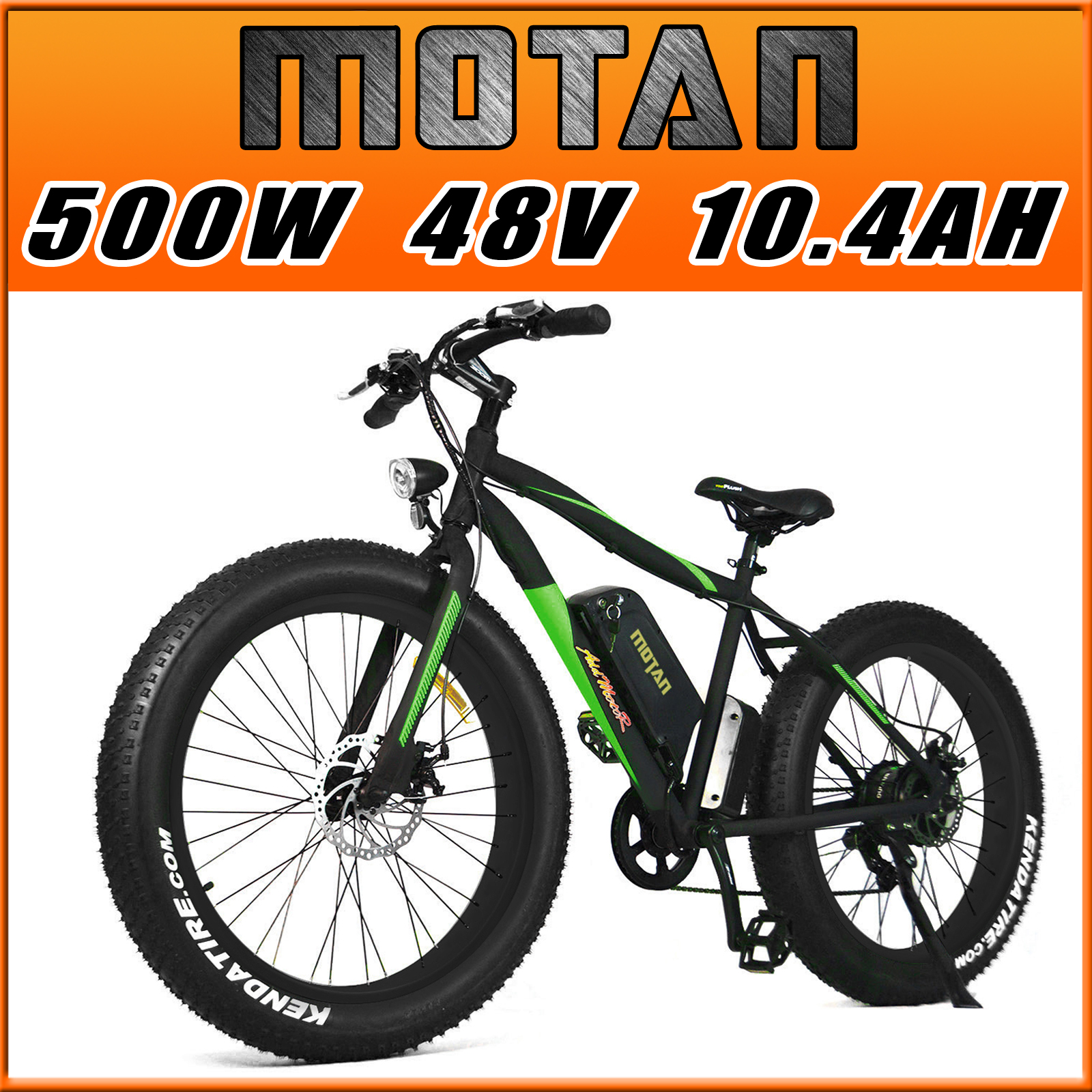 Addmotor MOTAN Fat Tire Electric Bicycles M-550 500W 10.4AH Sansung Lithium Cell Battery Green Snow Mountain E-bike