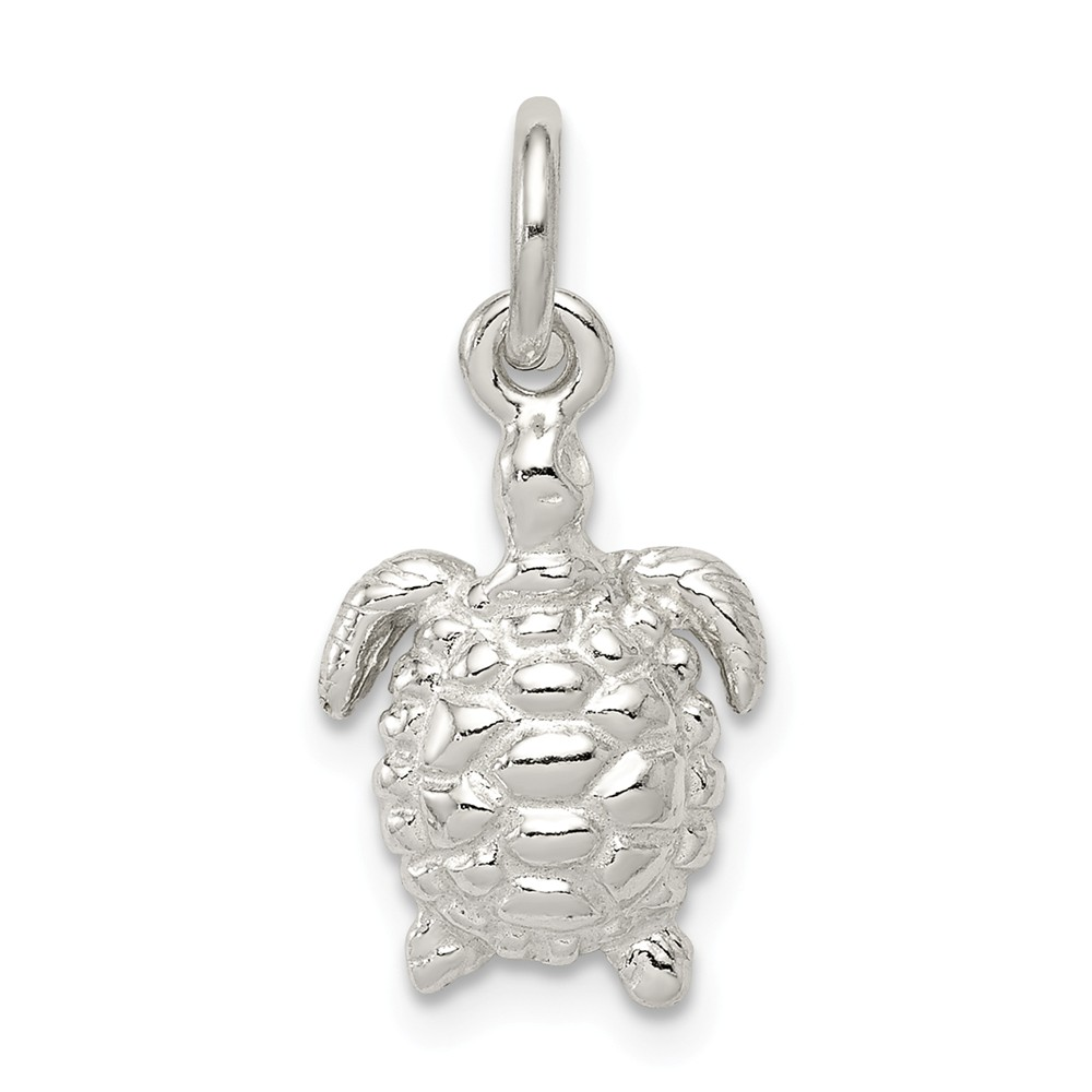 Sterling Silver Turtle Charm (0.7in long x 0.4in wide)