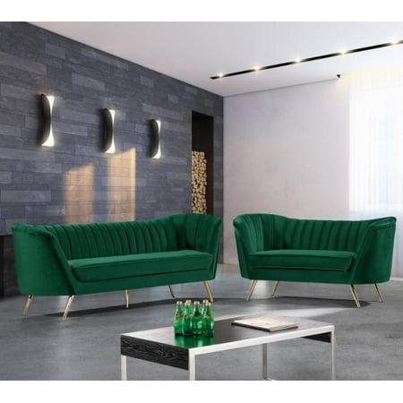 Wondrous Meridian Furniture 622 Margo Modern Green Velvet Sofa Loveseat Set 2Pcs Lamtechconsult Wood Chair Design Ideas Lamtechconsultcom