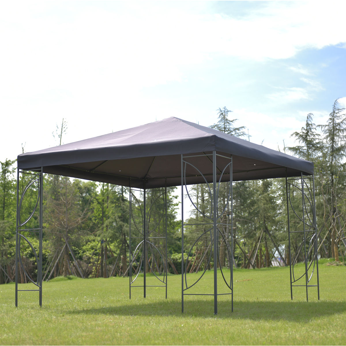 Costway Patio 10'x10' Square Gazebo Canopy Tent Steel Frame Shelter Awning W Gray Cover by Costway
