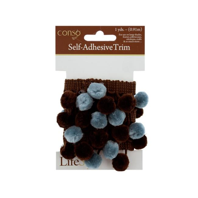 Bulk Buys WM333-48 Conso 1 Yard Self Adhesive Brown Trim With Brown-Teal Pom Poms