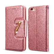 iPhone 6S Plus Case Wallet, iPhone 6 Plus Case, Allytech Glitter Bling Leather Cover Folio Credit Card Holder Wristlet Shockproof Protective Phone Case for Apple iPhone 6 Plus/ 6S Plus (Rosrgold)