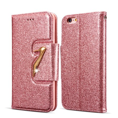 iPhone 6S Plus Case Wallet, iPhone 6 Plus Case, Allytech Glitter Bling Leather Cover Folio Credit Card Holder Wristlet Shockproof Protective Phone Case for Apple iPhone 6 Plus/ 6S Plus