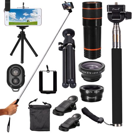 - All in 1 Phone Camera Lens Travel Kit 12X Telescope+Fisheye+Wide Angle+Macro Telephoto Lens with Mini Tripod & Selfie Stick Monopod For Smart Mobile Phone