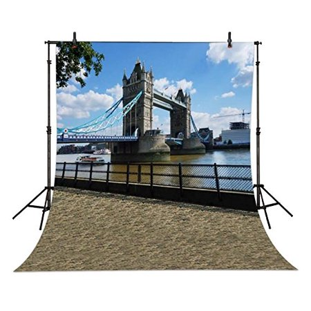 HelloDecor Polyster 5x7ft London Bridge Riverside photo backdrops wedding party Birthday Backgrounds