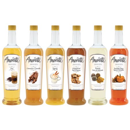 Amoretti Premium Holiday Syrup 6 Pack (Chai, Cinnamon, Eggnog, Gingerbread, Nutmeg, Pumpkin Spice) - 750ml Bottles