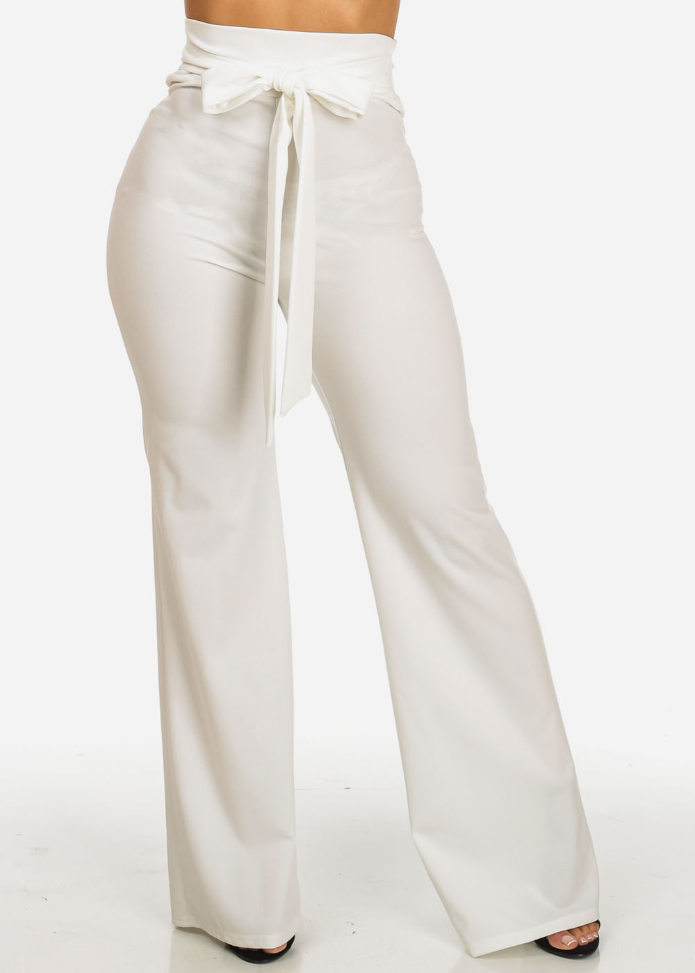 Womens Juniors Evening Wear Ivory High Waisted Slim Fit Wide Leg Pants 30677I