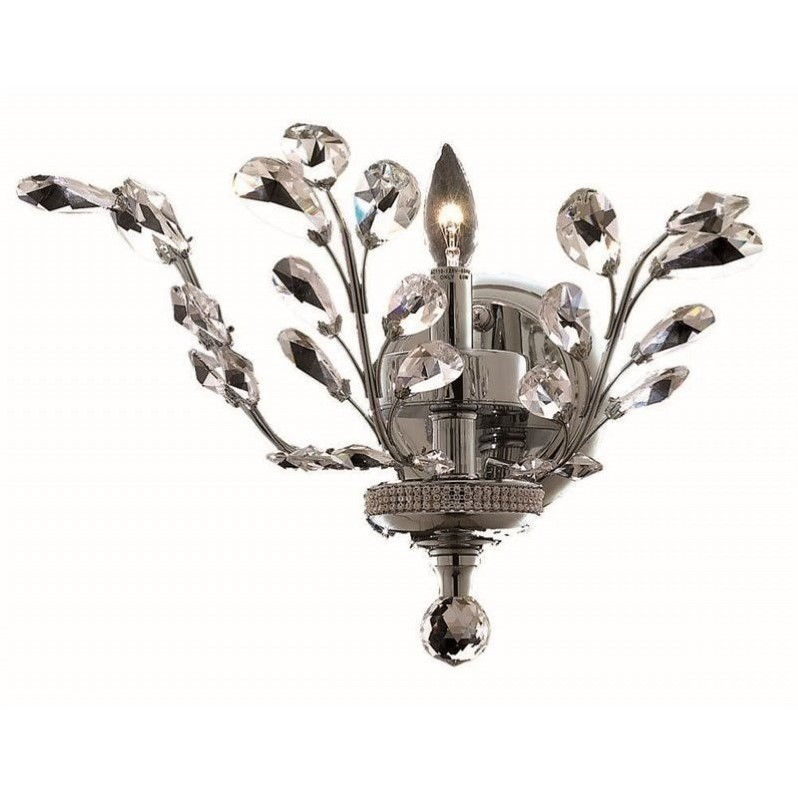 "Elegant Lighting Orchid 14"" Elements Crystal Wall Sconce in Chrome"