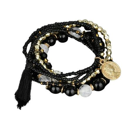 iLH Mallroom Fashion 1 Set Stretch Acrylic Beaded Bohemian Lady Bracelet Bangle E